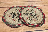 Burgundy and Sage Holly Coaster Braided - Simple Pleasures ~ Bountiful Treasures