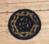 Braided Coaster Black and Tan - Simple Pleasures ~ Bountiful Treasures