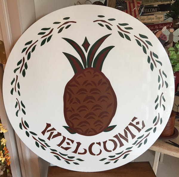 "Pineapple Welcome Sign 24"" - Simple Pleasures ~ Bountiful Treasures"
