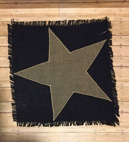 "13"" Black Burlap Mat w Star"