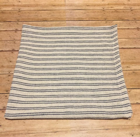 Ivory w Blue Stripe Square