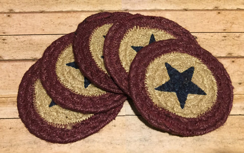 Braided Coaster Navy Star and Burgundy