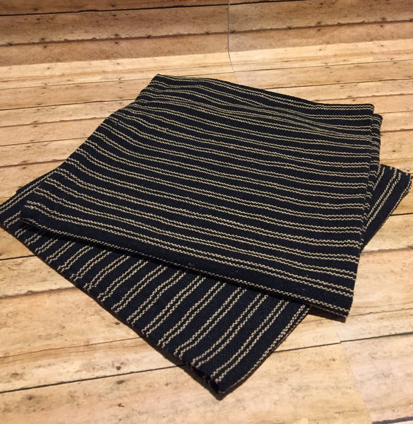 Black with Tan Stripe Table Square - Simple Pleasures ~ Bountiful Treasures