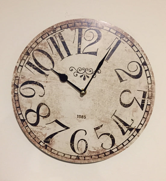 White Distressed Clock