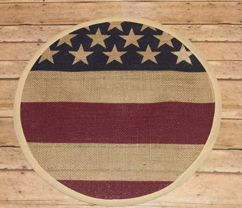 "13"" Round Americana Burlap Mat - Simple Pleasures ~ Bountiful Treasures"