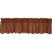Burgundy Check Layered Valance - Simple Pleasures ~ Bountiful Treasures