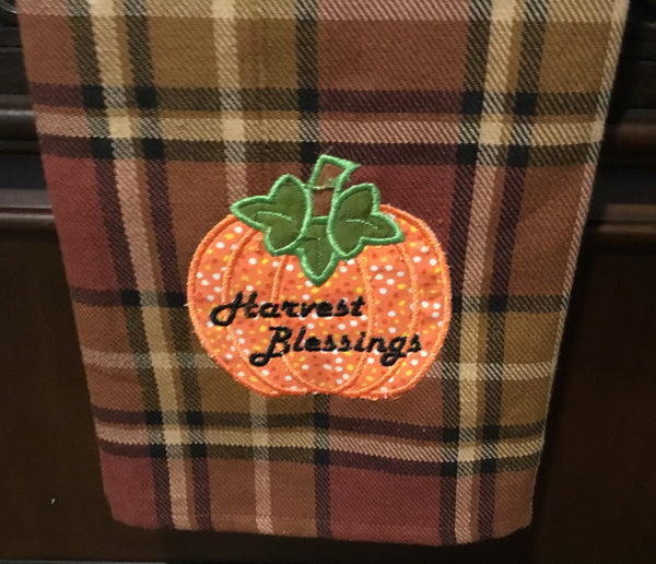 Embroidered pumpkin harvest blessing towel - Simple Pleasures ~ Bountiful Treasures
