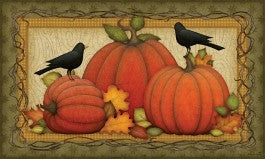 Pumpkin Patch Crow Flag or Mat