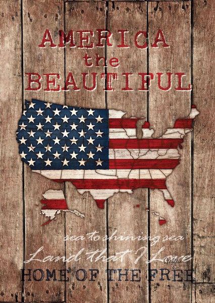 America the Beautiful Map Flag