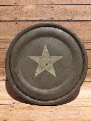 Wood Hand Painted Plate w Star