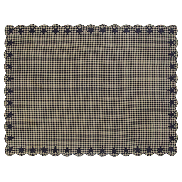 Black Star Scallop Rectangle Tablecloth