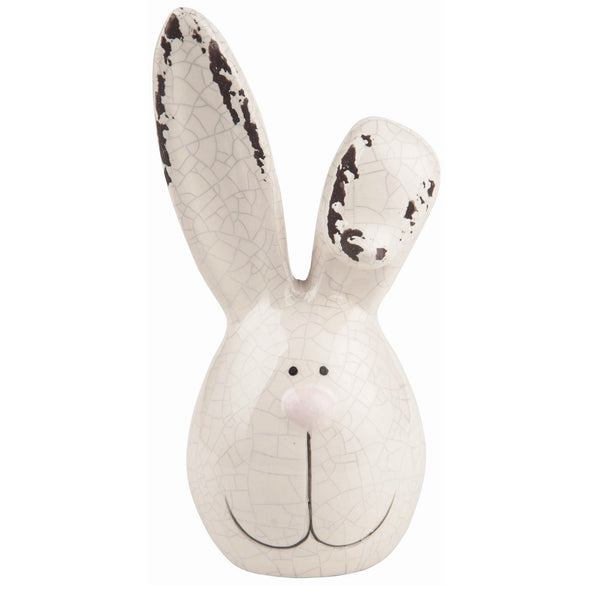 Dolomite Medium White Easter Bunny Head Figurine with Bent Ear - Simple Pleasures ~ Bountiful Treasures