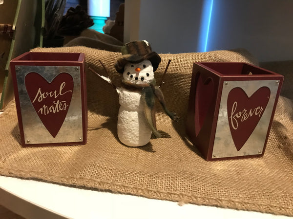 Primitives by Kathy's Soul Mates Forever Wooden Candle Holder