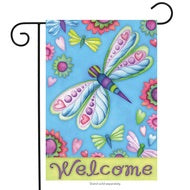 Dragonflies and Flowers Garden Flag