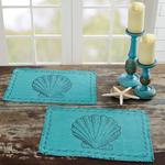 Sandy Aqua Burlap - Simple Pleasures ~ Bountiful Treasures