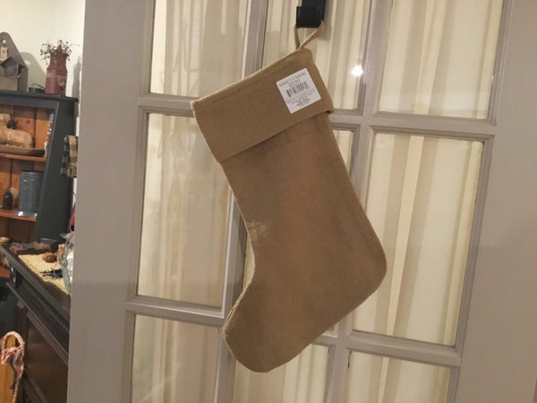 Burlap Stocking - Simple Pleasures ~ Bountiful Treasures