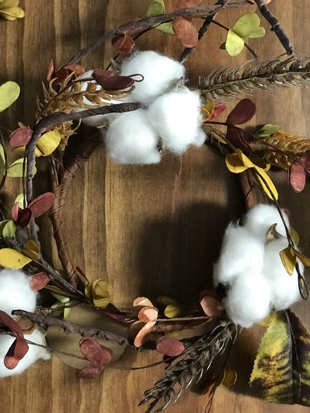 Cotton Wreath - Fall - Simple Pleasures ~ Bountiful Treasures