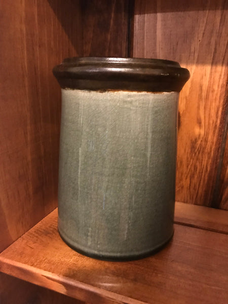 Gray and Brown Pottery Crock