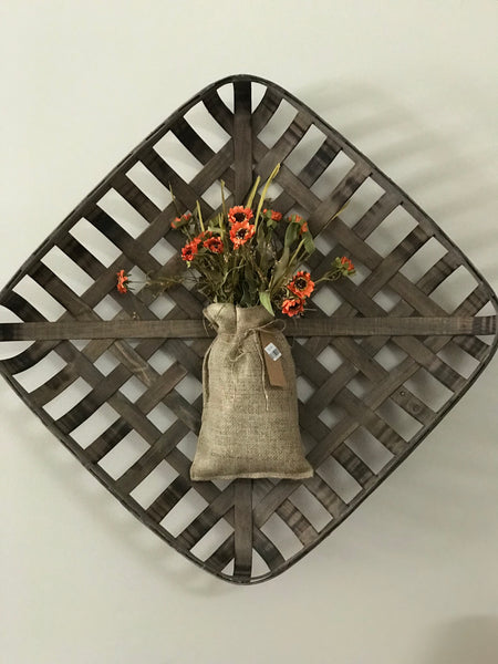 Burlap Bag with Flowers - Simple Pleasures ~ Bountiful Treasures