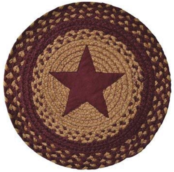 "15"" Star Burgundy Braided Round Mat - Simple Pleasures ~ Bountiful Treasures"