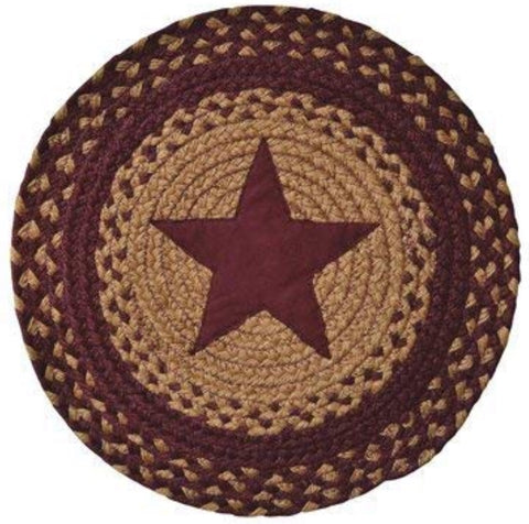 "15"" Star Burgundy Braided Round Mat"