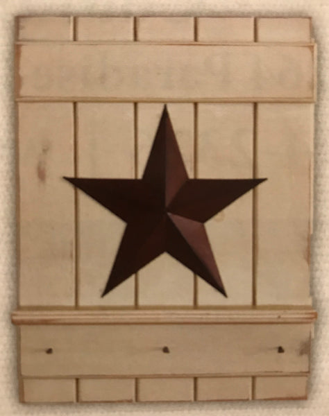 Shelf w Barn Star and Pegs - Simple Pleasures ~ Bountiful Treasures