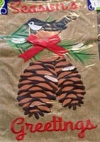 Chickadee Burlap Garden Christmas - Simple Pleasures ~ Bountiful Treasures