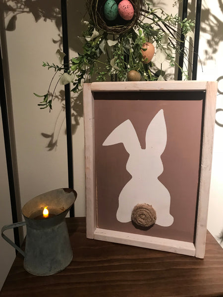Cute bunny farmhouse framed sign