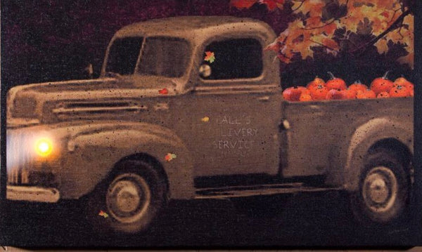 Lighted Farm Truck with Pumpkins