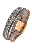 Braided and Rhinestone Leather Bracelet - Simple Pleasures ~ Bountiful Treasures