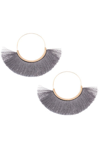 Large Gray Fringe Tassel Hoops