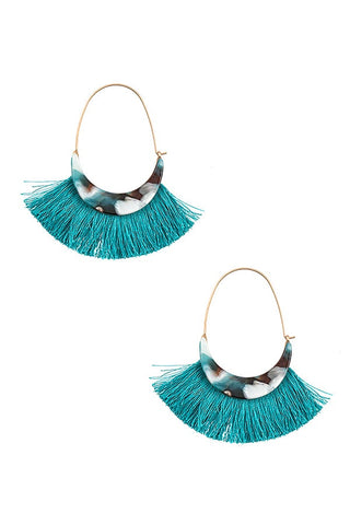 Fringe Tassel Earrings with Agate