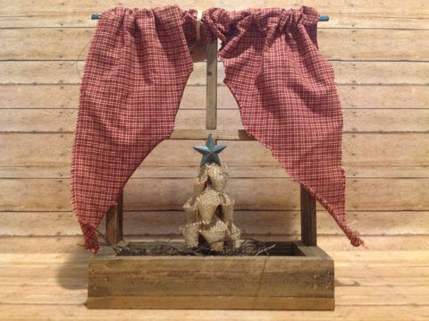 Lath Window w Burlap Tree