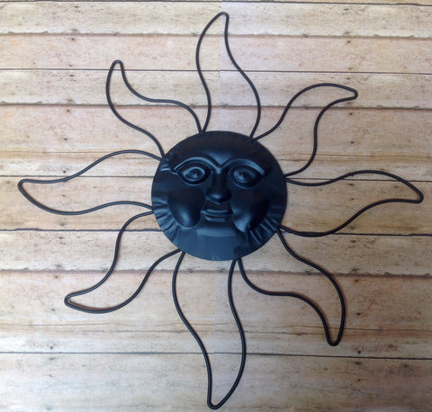 "Sun Face 14"" Black Metal"