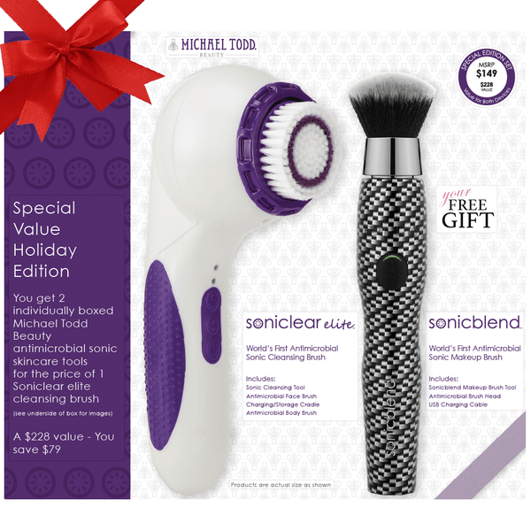 2018 Holidays Bundle Pearl White Soniclear Elite + FREE Carbon Fiber Sonicblend