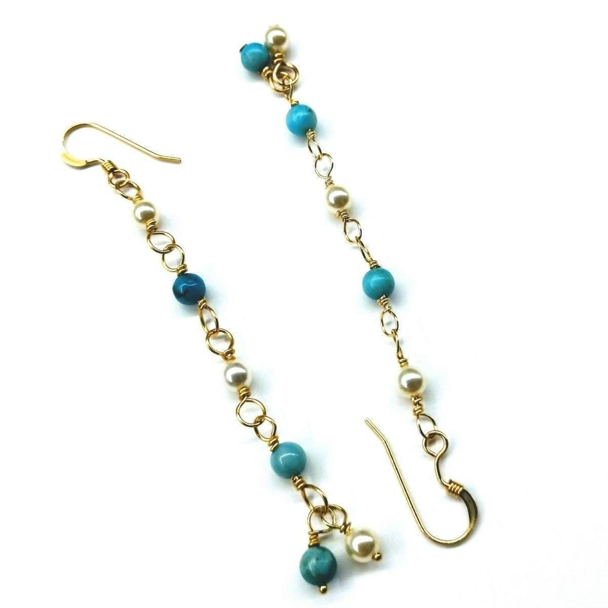 boho chic Beaded Turquoise Earrings bridesmaid jewelry gold plated wire wrapped earrings wire wrapped dangles statement earrings