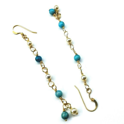 Turquoise Pearl Wire Wrapped Long Gold Filled Dangle Earrings - LocalWe