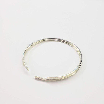 Hammered Sterling Silver Open Bangle