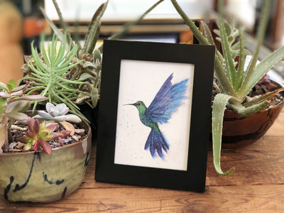 Greeting card in frame with painting of a hummingbird in flight | Made in NC | LocalWe
