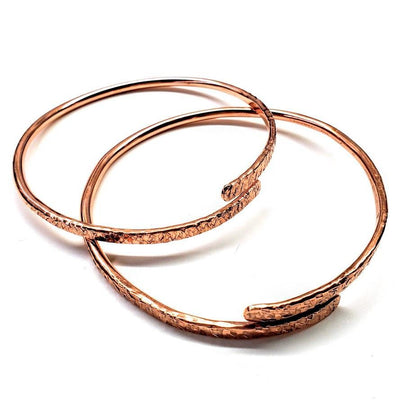 Adjustable Hammered Copper Overlap Bangle - LocalWe