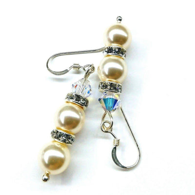 Bridal Sterling Silver Stacked Crystal and Pearl Earrings
