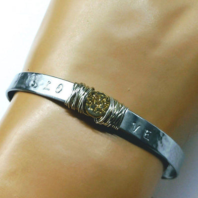 Stainless Steel LOVE Stamped Sterling Silver Wire Wrap Gold Druzy Bangle Cuff - LocalWe