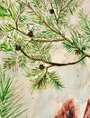Cardinal lovebirds greeting cards shows detail of the birds' pine tree perch originally painted by NC nature artist | LocalWe