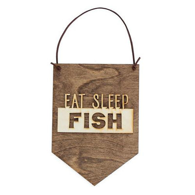 Laser Cut Wood Wall Hanging - Eat Sleep Fish