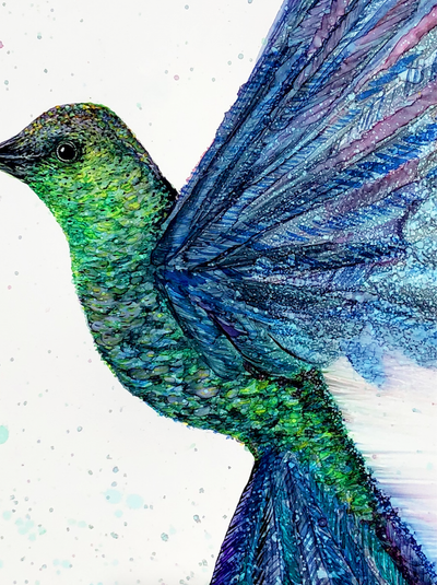 Greeting card with painting of a hummingbird in flight | Made in NC | LocalWe