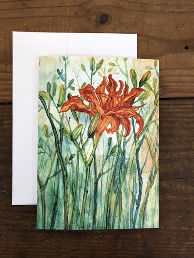 Greeting card with a daylily painting on it | Made in North Carolina | LocalWe