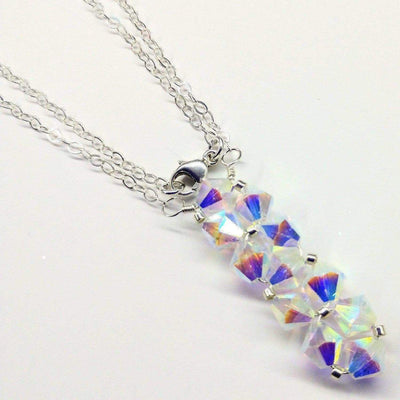 Sterling Silver Vertical Beaded Crystal Bar Necklace - LocalWe