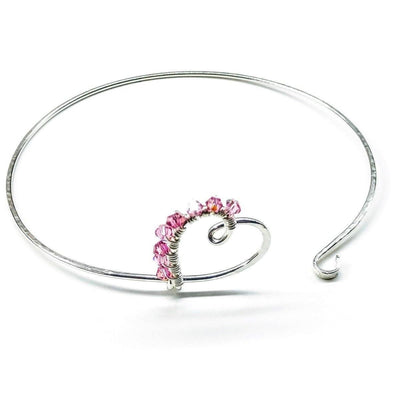 Sterling Silver Pink Crystal Wire Wrapped Heart Bangle