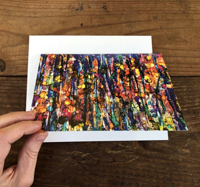 Abstract forest greeting card depicting vibrant landscape in vivid colors, suitable for framing; handcrafted in NC | LocalWe