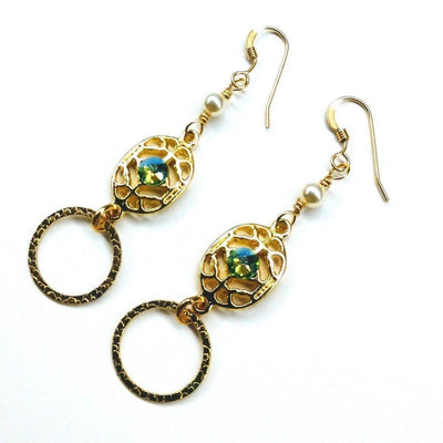 Green Crystal Open Circle Gold Filled Earrings